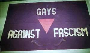 14 February 2014, LGBT History tour, Gays Against Fascism banner © People's History Museum