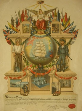 6 Dec 2013, A Cornucopia of Surprises, emblem of the Sailor's & Firemen's Union, 1887 © People's History Museum